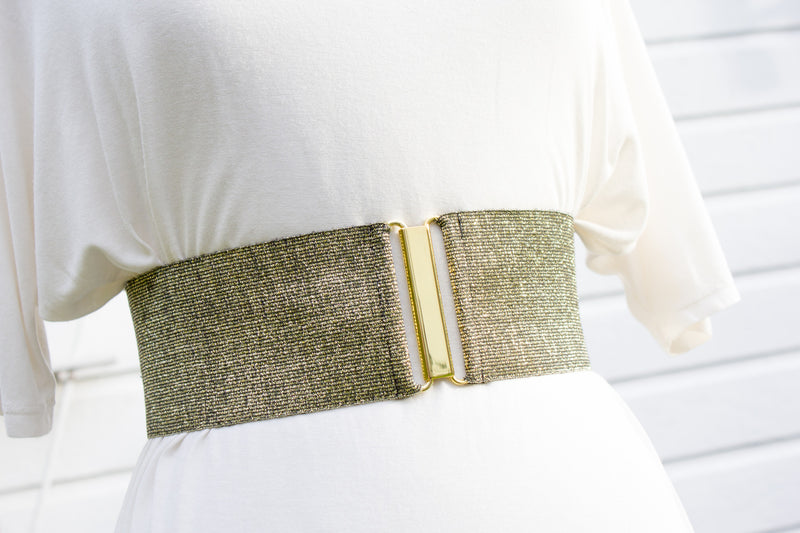 Women's 3 inch gold belt by Cinched Apparel