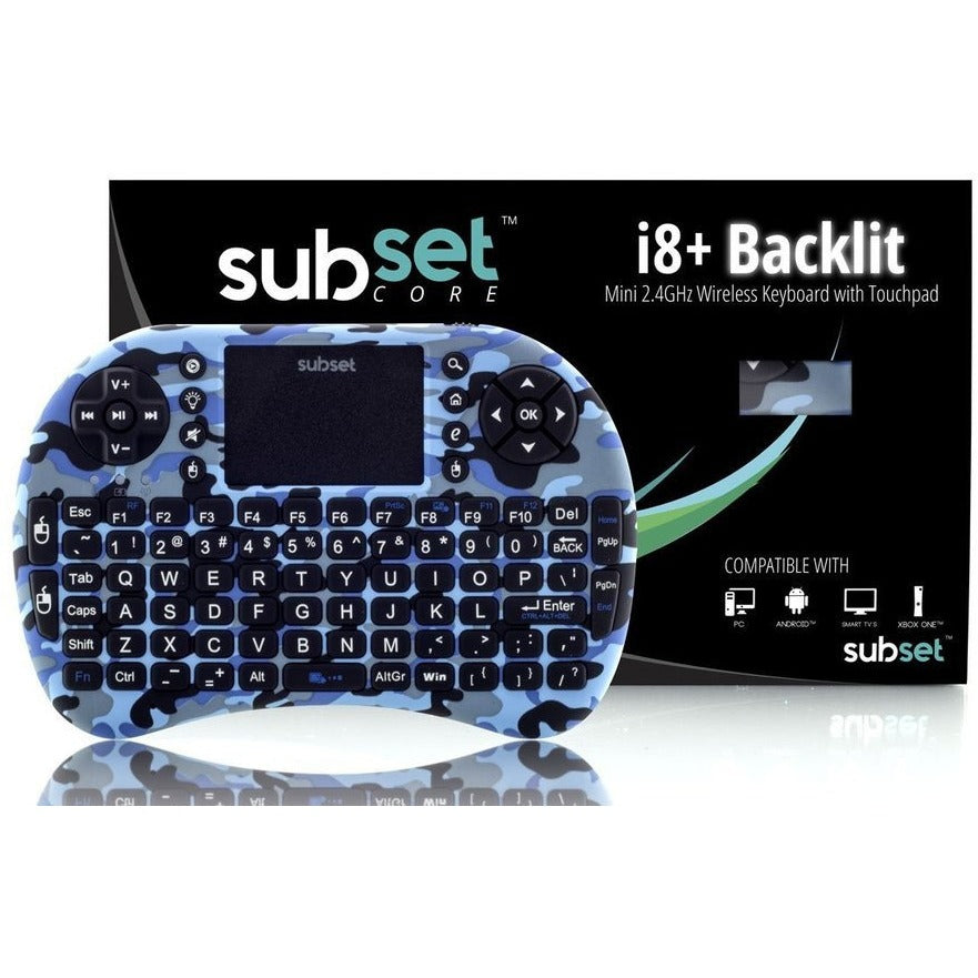 Subset 2.4GHz+ Mini Wireless Keyboard with Touchpad Mouse, LED Backlit, Rechargable Li-ion Battery, Raspberry Pi, OSX, Linux, HTPC, IPTV, Google Android TV Box, Windows, Fire TV (Blue Camo i8+)