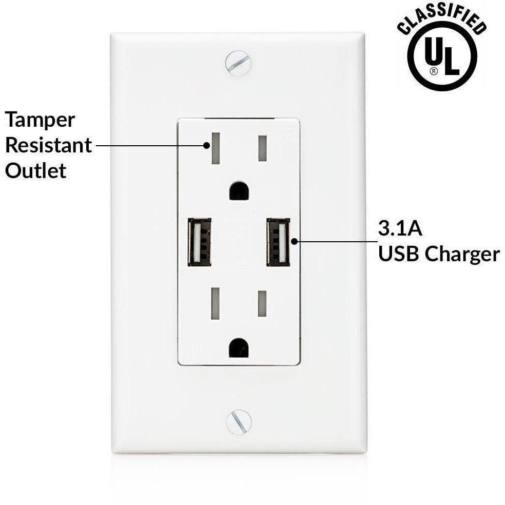 High Speed USB 3.1A Charger and Duplex Receptacle 15-Amp by SoCal Ligh