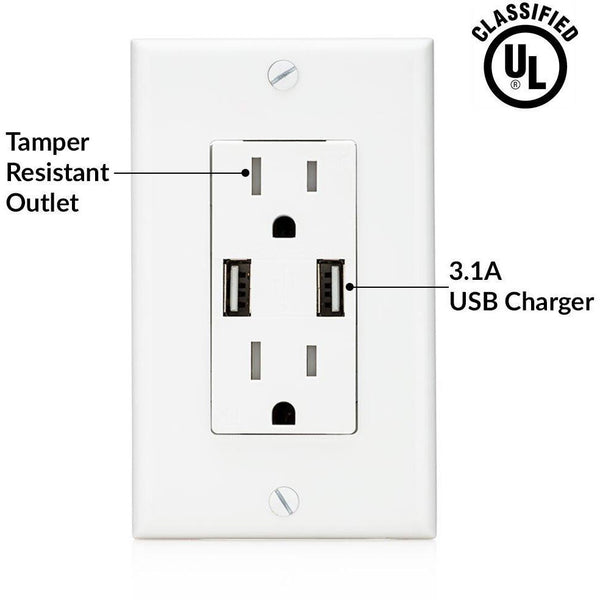 High Speed USB 3.1A Charger and Duplex Receptacle 15-Amp by SoCal Lighting