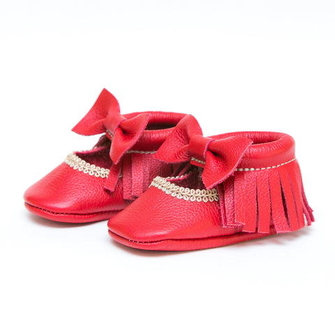Bow Mary Janes - Candy Apple Red