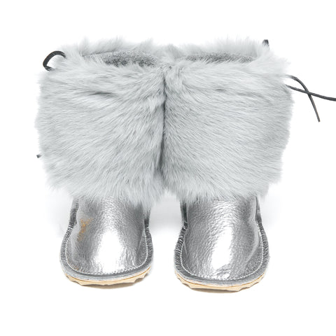 Fur Boot - Pewter w/ Gray Rabbit Fur