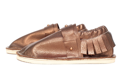 Adult Moccasin - Studded Strap - Bronze (Metal Studs)
