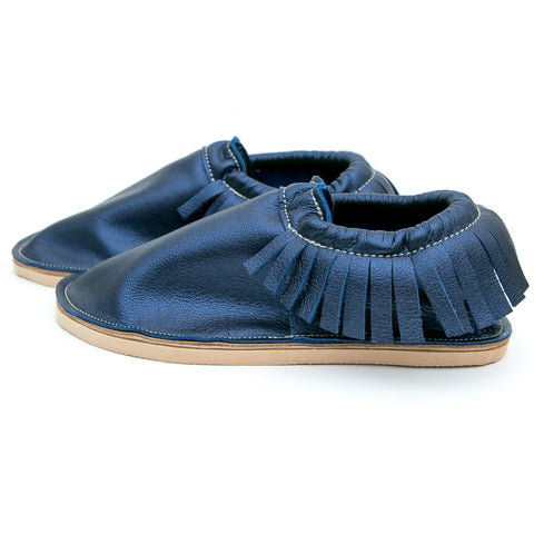 Adult Moccasin - Classic Fringe - Sapphire (Partial Fringe)