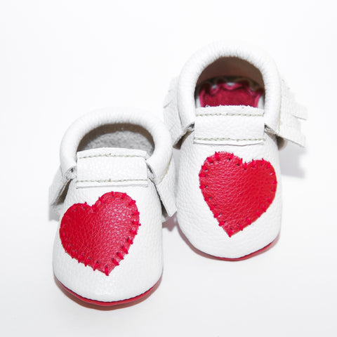 Valentine's Collection  - Pure White w/ Candy Apple Red Heart