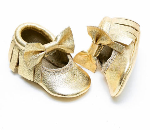 Bow Mary Janes - Gold