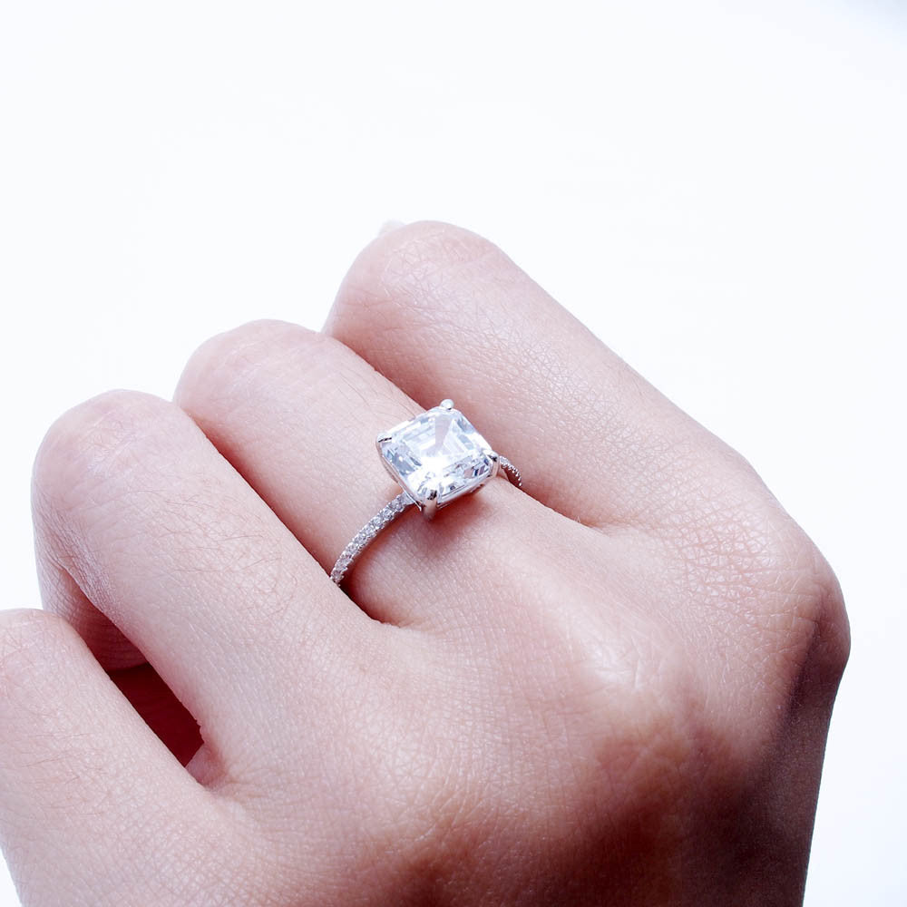 Sterling Silver Square Engagement Ring