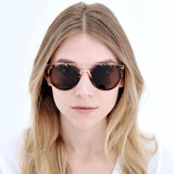 Retro Tortoise Round Aviator Sunglasses