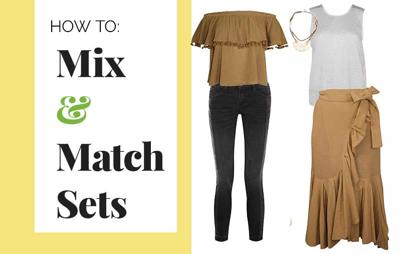How to mix and match matching sets | stretch your wardrobe and make multiple outfits with one set | Laurence Bras on sale at Muse Boutique Outlet | Shop brown off the shoulder tops and brown midi ruffle skirts and clu white tank tops