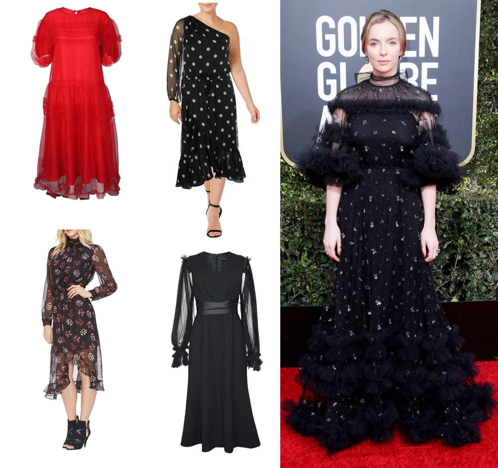 Shop The Red Carpet Look: Killing Eve's Jodie Comer | Shop Sheer, Tulle and Printed Clothing at Muse Boutique Outlet