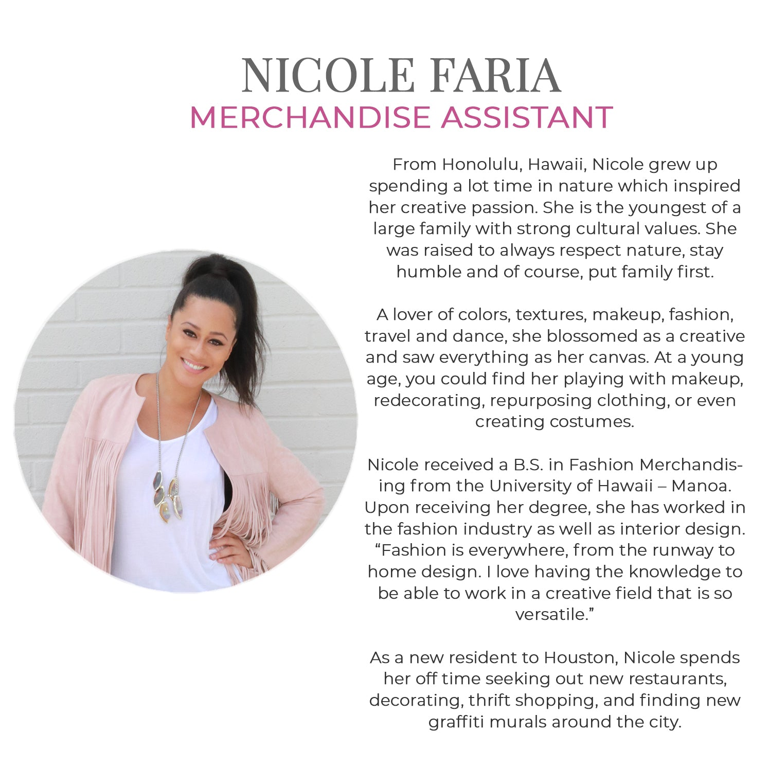 Get to know our team at Muse Boutique Outlet | Nicole Faria's Bio