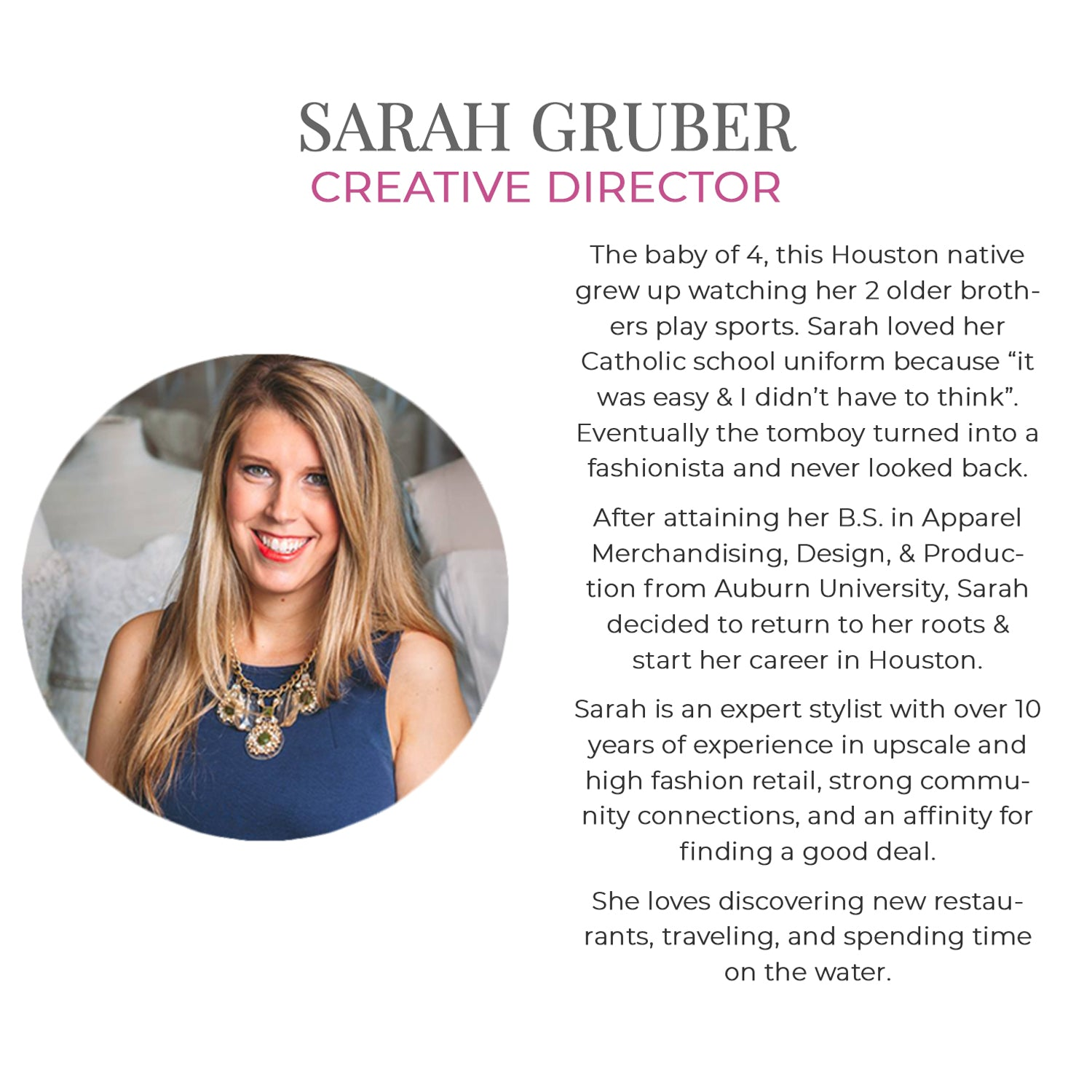 Get to know our team at Muse Boutique Outlet | Sarah Gruber's Bio