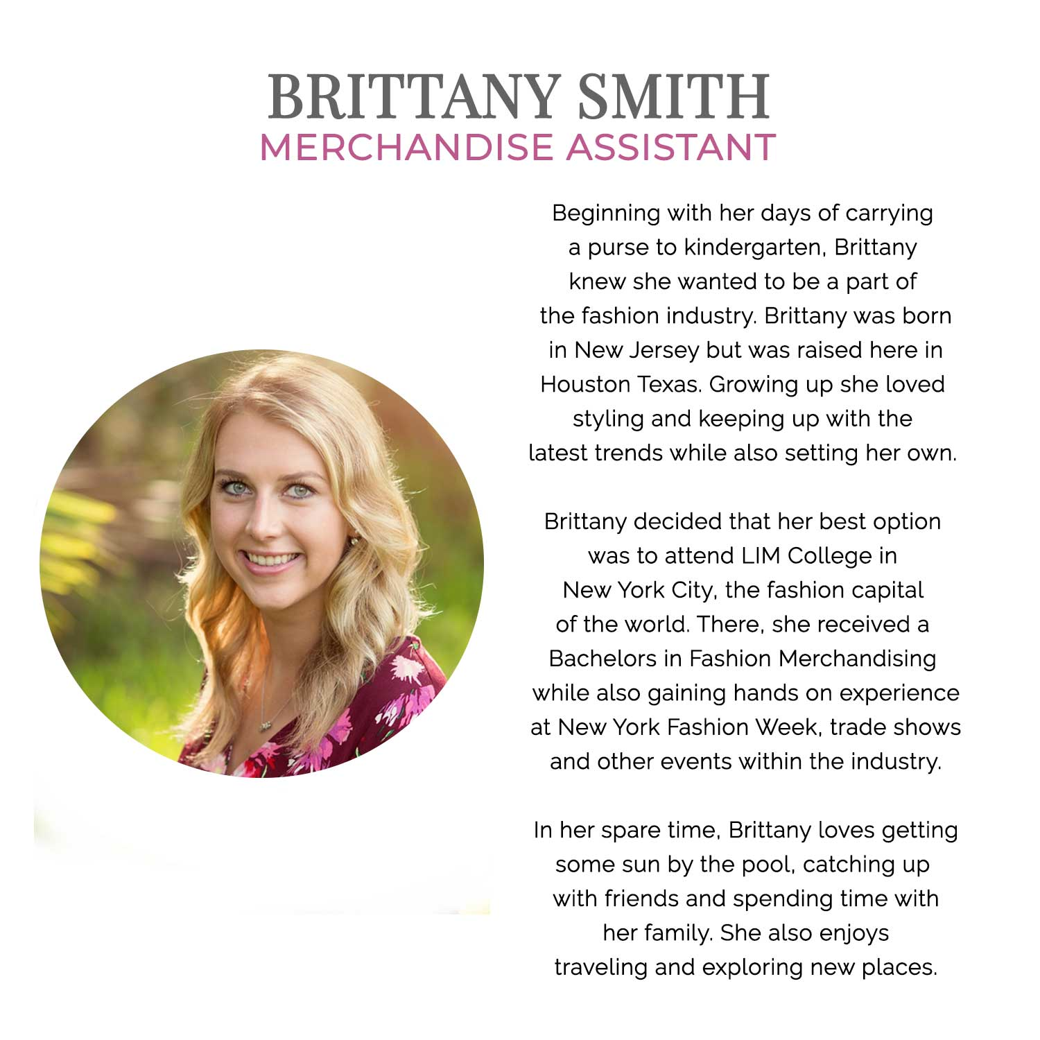 Get to know our team at Muse Boutique Outlet | Brittany Smith's Bio