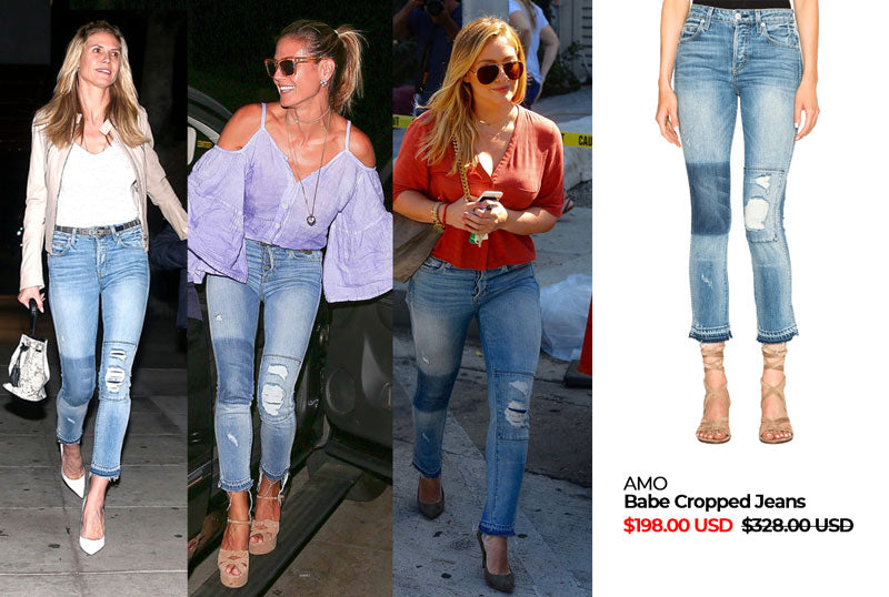 AMO Babe Cropped Jeans | Heidi Klum & Hilary Duff in AMO | Hilary Duff in AMO babe cropped jeans | Shop AMO jeans on Sale at Muse Boutique Outlet | Heidi Klum in AMO jeans | Heidi Klum Style | Hilary Duff Style | Dress like Heidi Klum | Dress like a Celebrity | Shop celebrity styles on sale at Muse Boutique Outlet