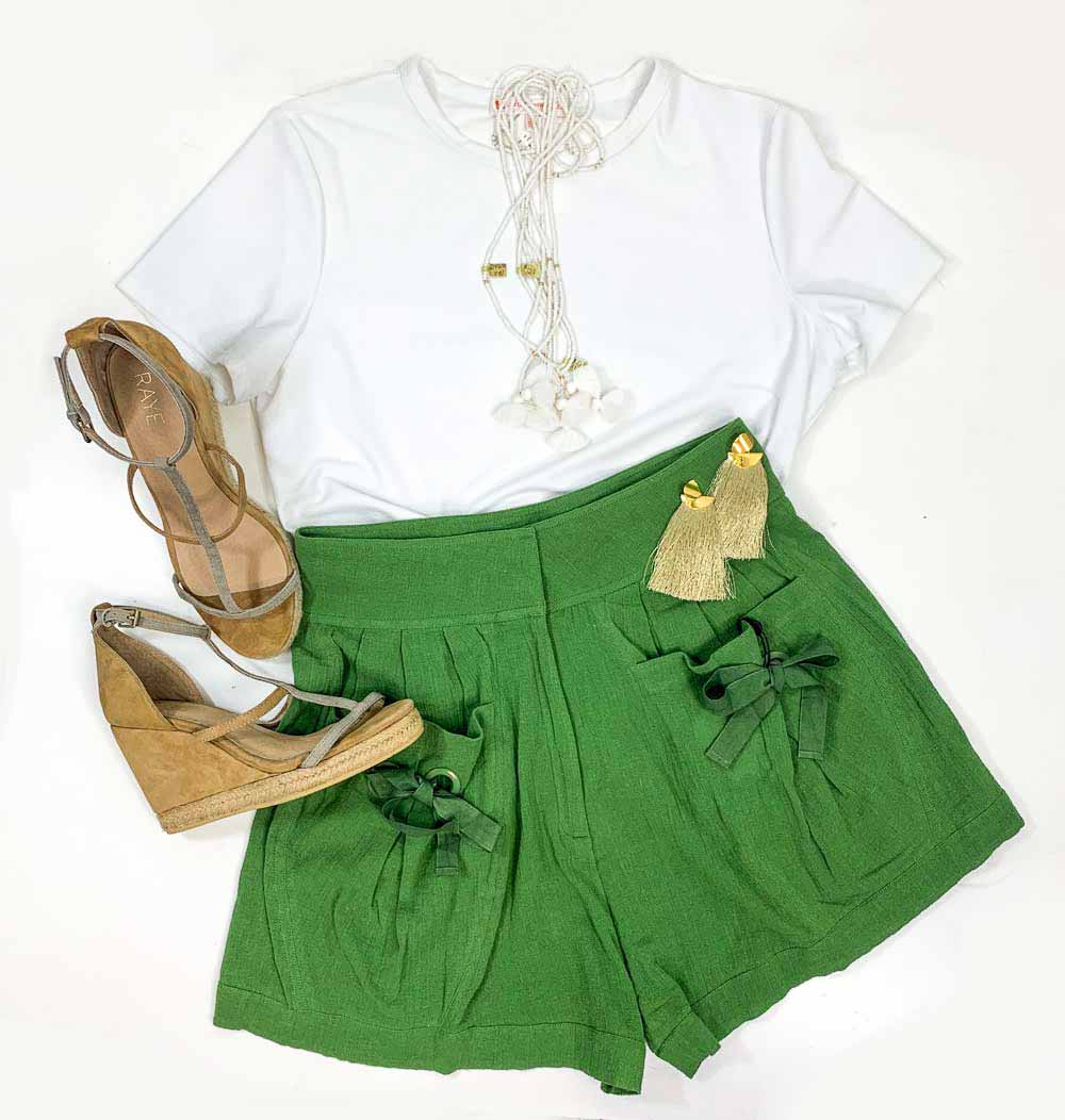 Shop all Laurence Bras on sale at Muse Boutique Outlet, gia white shirt, gia white tee, white beaded necklaces, high waisted green summer shorts, tan designer wedges for sale
