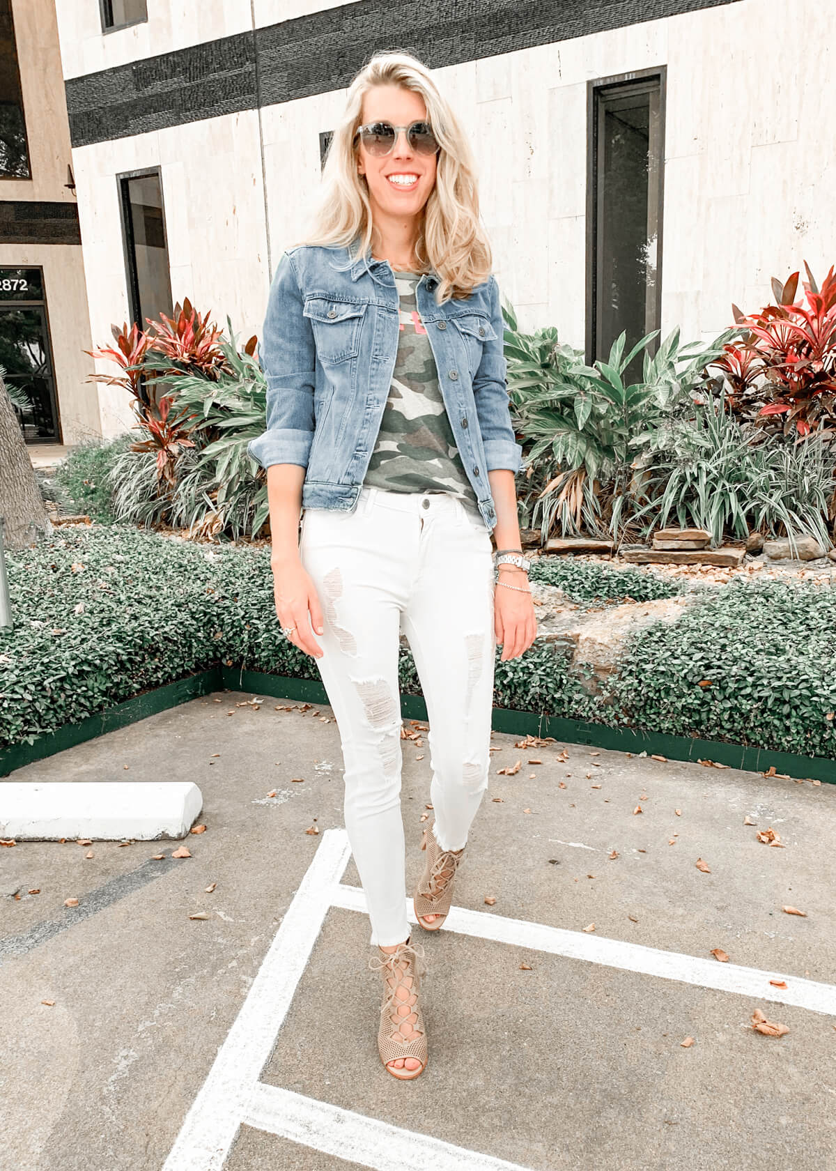 White Jeans Outfit Ideas - 5 Ways to Wear White Jeans | White Distressed Jeans and Blue Denim Blazer Outfit | White Jeans and Denim Jacket | White Jeans Camo Shirt Outfit | Mother Make Love Camo Tee | Paige Rowan Denim Jacket | Just Black Denim Distressed Jeans in White