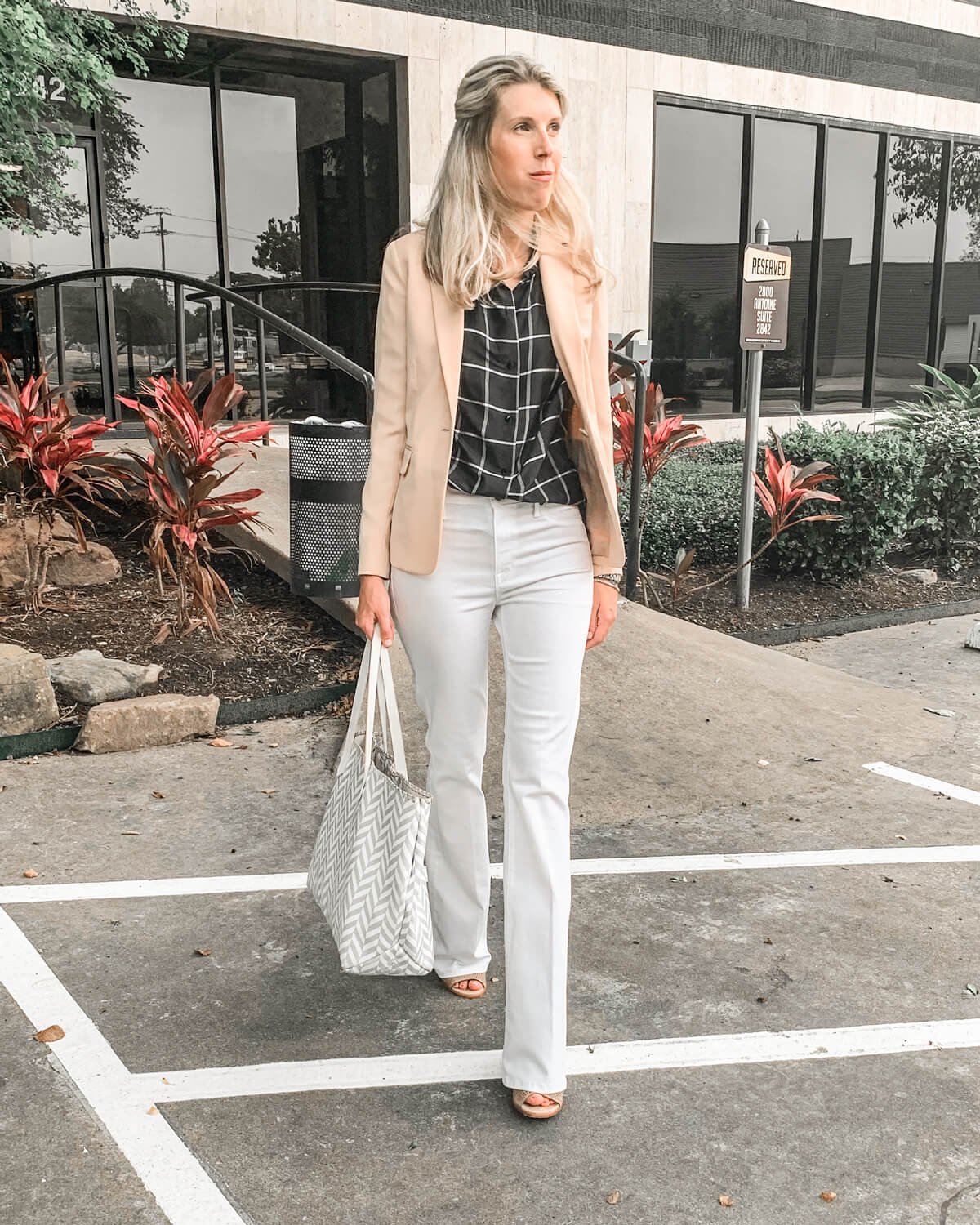 What to Wear With White Jeans | White Jeans Blazer Outfit | White Jeans Light Pink Blazer | Blazer With Flared White Jeans Outfit Summer | Silk Shanting Blouse | Vince Blush Blazer on Sale | Parker Smith Bombshell Bell Bottom Jeans in White