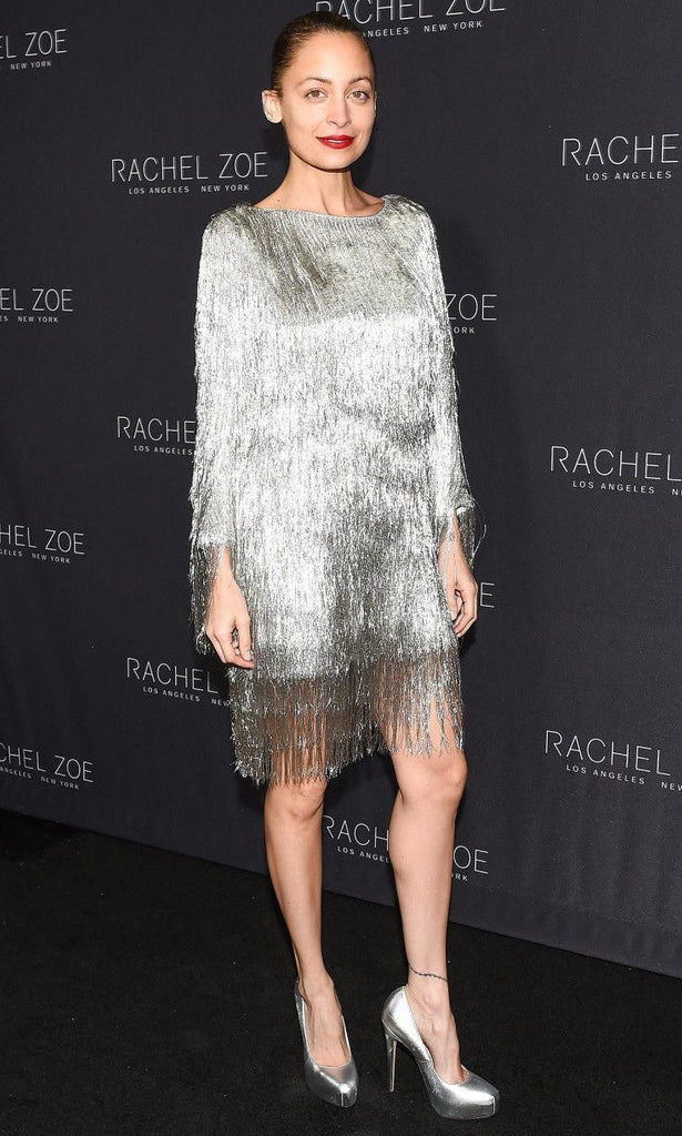 Rachel Zoe Ballina Metallic Fringe Dress Nicole Richie