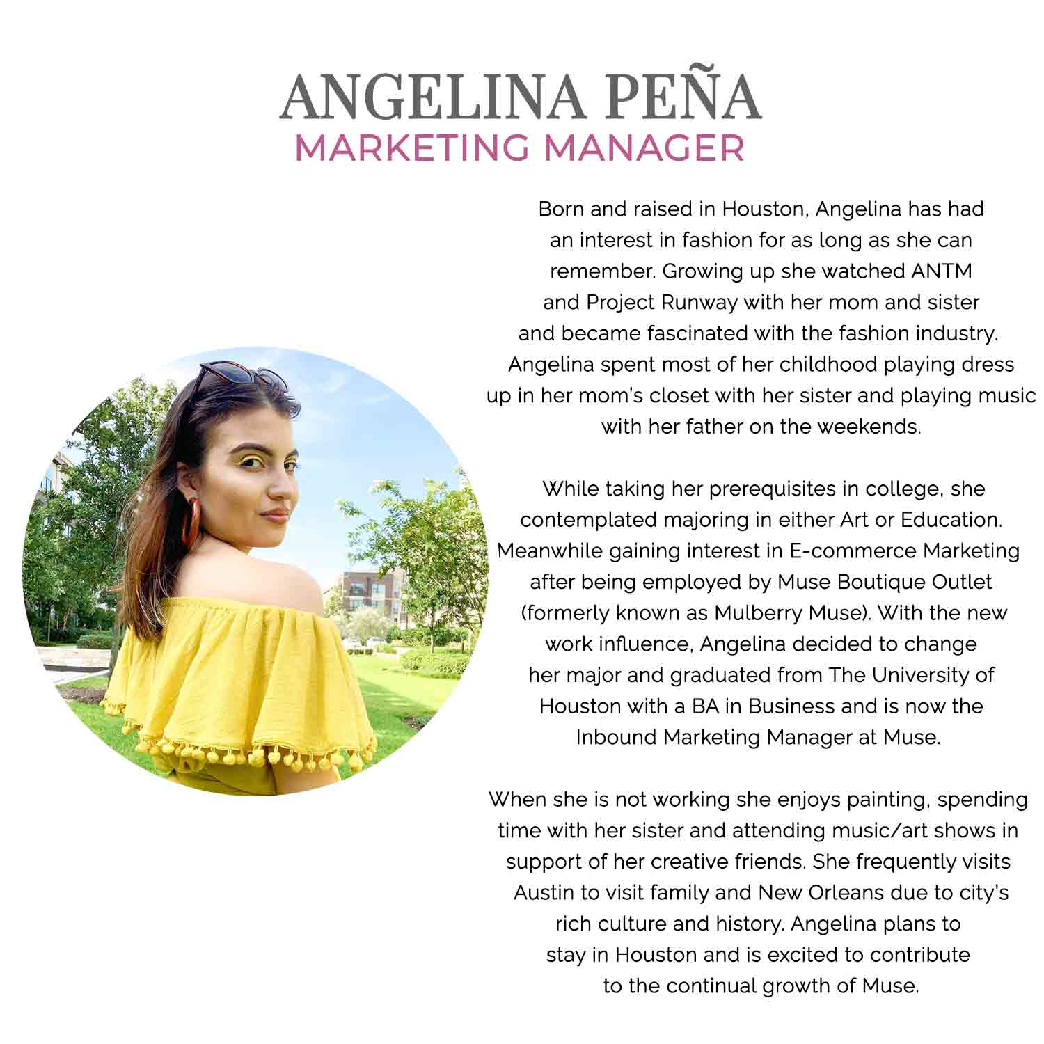 Angelina Jean Pena Marking Manager at Muse Outlet