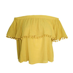 Shop Laurence Bras online on sale at Muse Boutique Outlet |  Laurence Bras Fringe Trim Off the Shoulder Top | Off shoulder tops on sale, summer and fall tops on sale, yellow womens top on sale