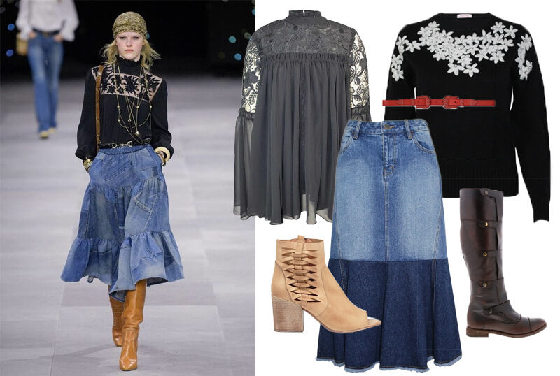 Celine denim tiered skirt on the fashion spring 2020 runway. The spring summer 2020 trend forecast is here. Find spring 2020 fashion trends up to 90% off retail. Read about the Spring 2020 trends blog. How to wear the latest spring 2020 fashion trends. Shop Muse Outlet. International Shipping, 15% off your first order.