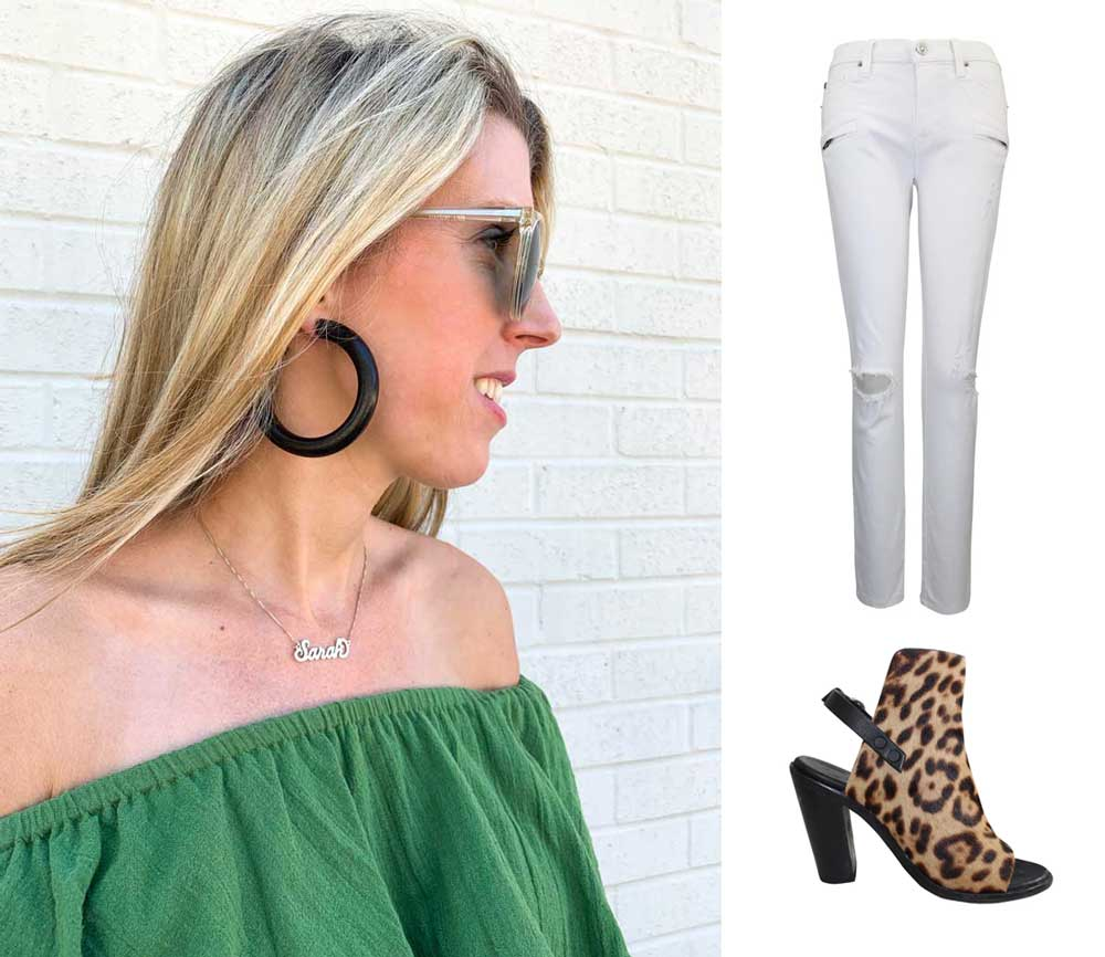 black wooden hoop earrings on sale, off the shoulder green top with poms, white denim hudson jeans on sale