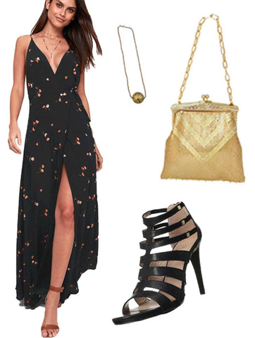 What to Wear to a Pool Party | Maxi Dresses on Sale at Muse Boutique Outlet | Maxi Wrap Dresses on Sale | Allison Schiller Circular Pendant Necklace on Sale | Deco Crystal Gold Clutch on Sale | Stuart Weitzman Sandals on Sale