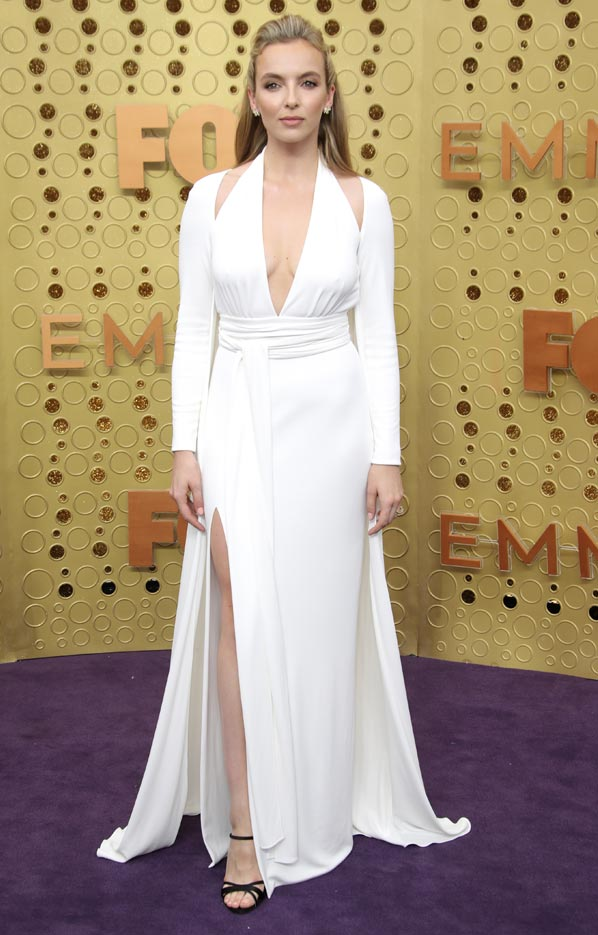 Shop The Red Carpet Look: Killing Eve's Jodie Comer | Leg Slits, White, and V-Necklines