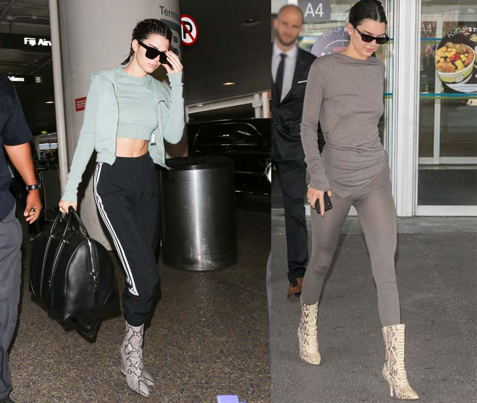 The Best Celebrity Airport Looks | Kendall Jenner at the airport wearing snakeskin boots and loungewear