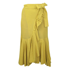 shop laurence bras online on sale at Muse Boutique Outlet | Laurence Bras Ruffle Trim Wrap Skirt | Shop womens yellow skirts, designer womens yellow skirts, laurence bras womens mustard skirt on sale at Muse Boutique Outlet