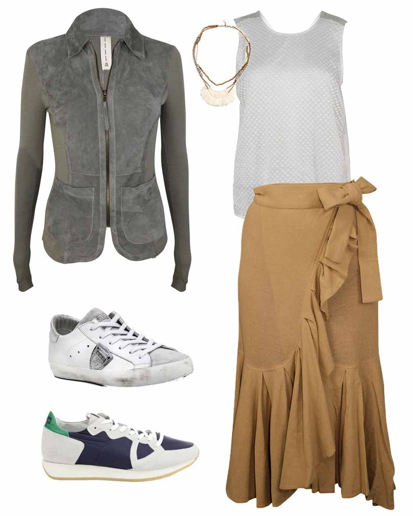 What to wear with a brown ruffle skirt, shop gray leather jackets on sale at Muse Boutique Outlet, Shop Clu white tanks on sale, shop Philippe Model shoes on sale | boho chic tassel fringe beaded necklace on sale | Philippe Model sneakers on sale