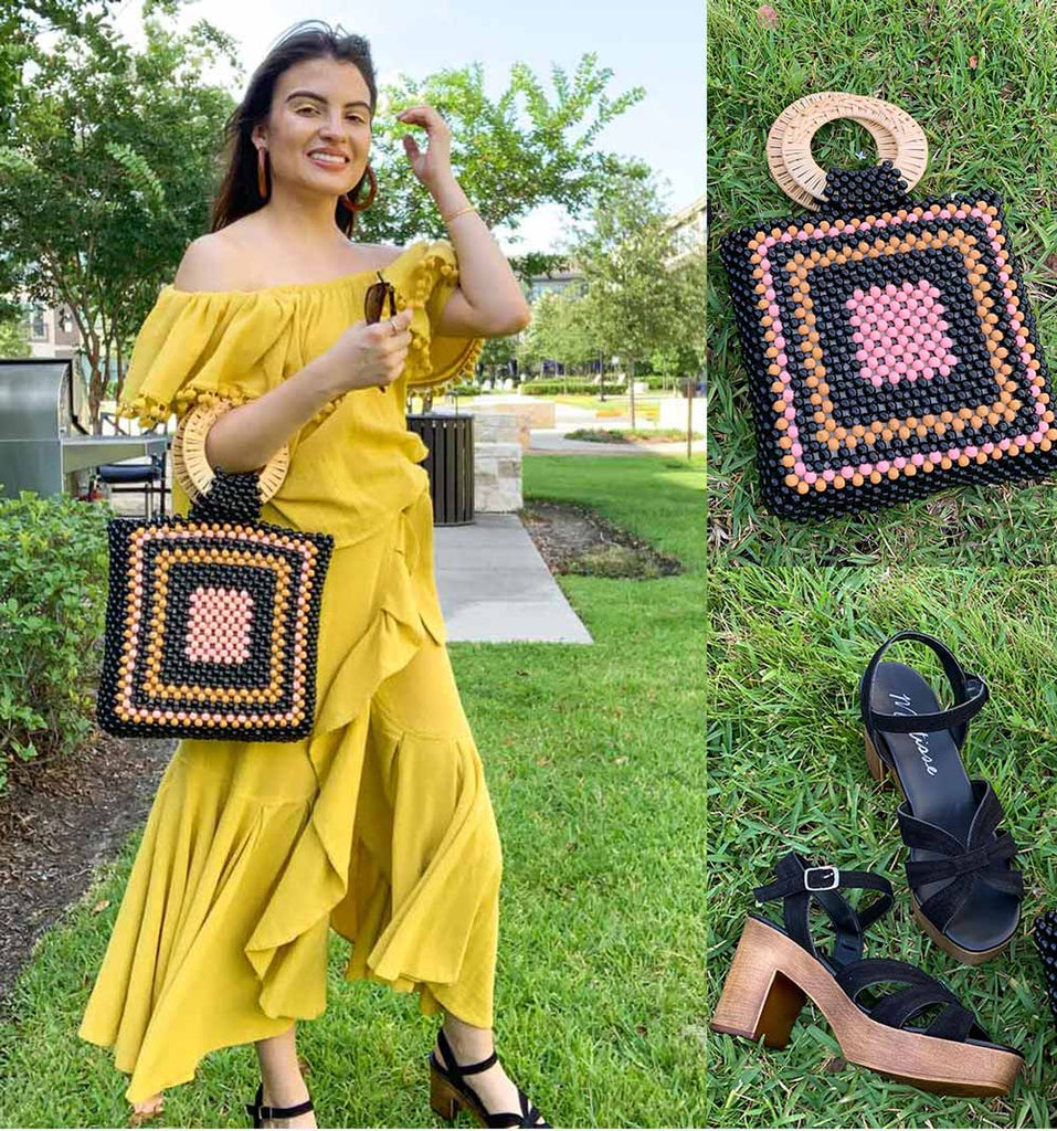Shop yellow off shoulder tops with ruffle midi skirts on sale at Muse Boutique Outlet, what to wear to a picnic, what to wear with yellow outfit, yellow outfits, ulla johnson handbag, beaded handbag, black and brown clogs, what to wear with a midi skirt