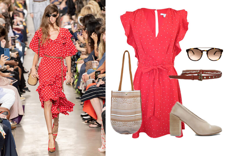 Michael Kors red polka dot ruffle dress on the spring 2020 fashion runway. The spring summer 2020 trend forecast is here. Find spring 2020 fashion trends up to 90% off retail. Read about the Spring 2020 trends blog. How to wear the latest spring 2020 fashion trends. Shop Muse Outlet. International Shipping, 15% off your first order.