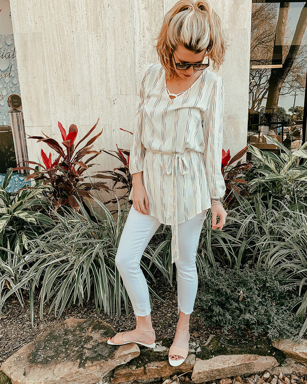 White Jeans Outfit Ideas - 5 Ways to Wear White Jeans | White Jeans Outfits | All White Outfits Summer | What to Wear With White Jeans | AMO Babe High Rise Jean | Eberjey Dream Catcher Mika Cover Up | Monc Sunglasses Kreuzberg | Dolce Vita Dara Sandal on Sale at Muse Outlet
