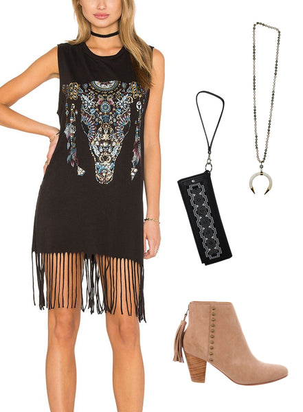 rodeo houston outfit blog ideas lauren moshi fringe boot beaded clutch bone necklace