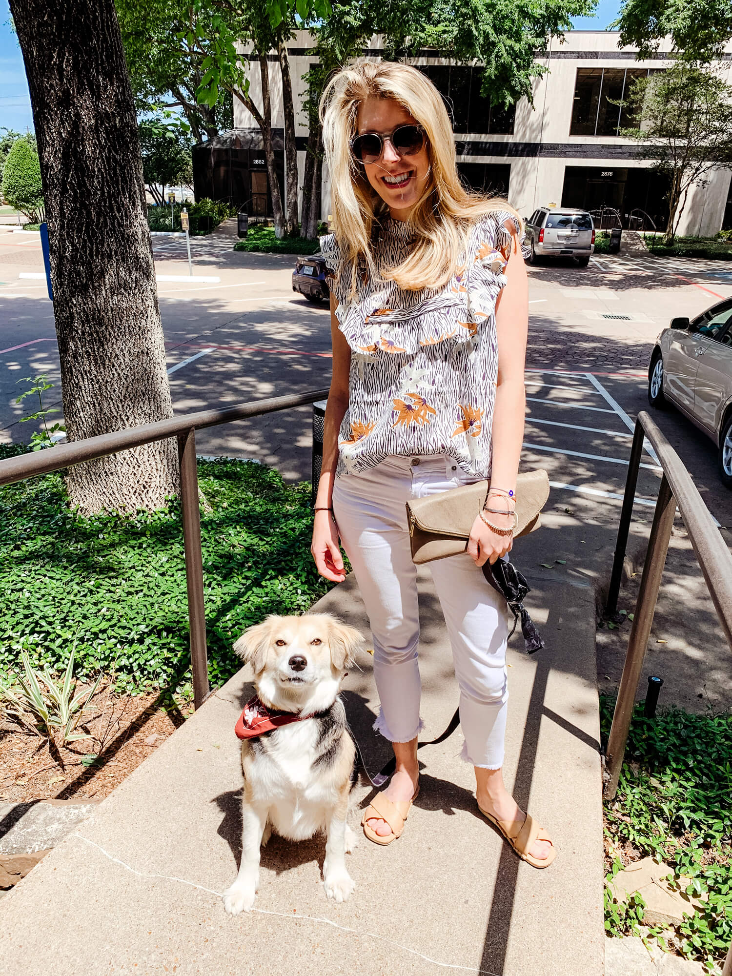 White Jeans Outfit Ideas - 5 Ways to Wear White Jeans | Printed Top White Jeans Outfit | Floral Top White Jeans Outfit | Cute White Jeans Outfits Summer | Stevie May | Dl1961 White Jeans | Florence Ankle Mid Rise Skinny Jean | Monc Sunglasses | Sole Society Tazmmi Clutch