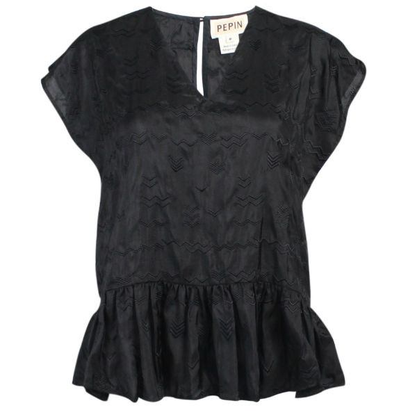 Pepin Black Constance Ruffle Blouse Size Medium Muse Boutique Outlet | Shop Designer Clearance Tops on Sale | Up to 90% Off Designer Fashion