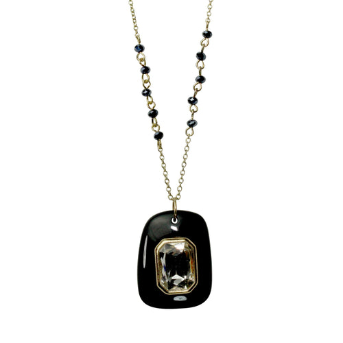 Private Label Pendant and Stone Necklace OSFA Black Muse Boutique Outlet