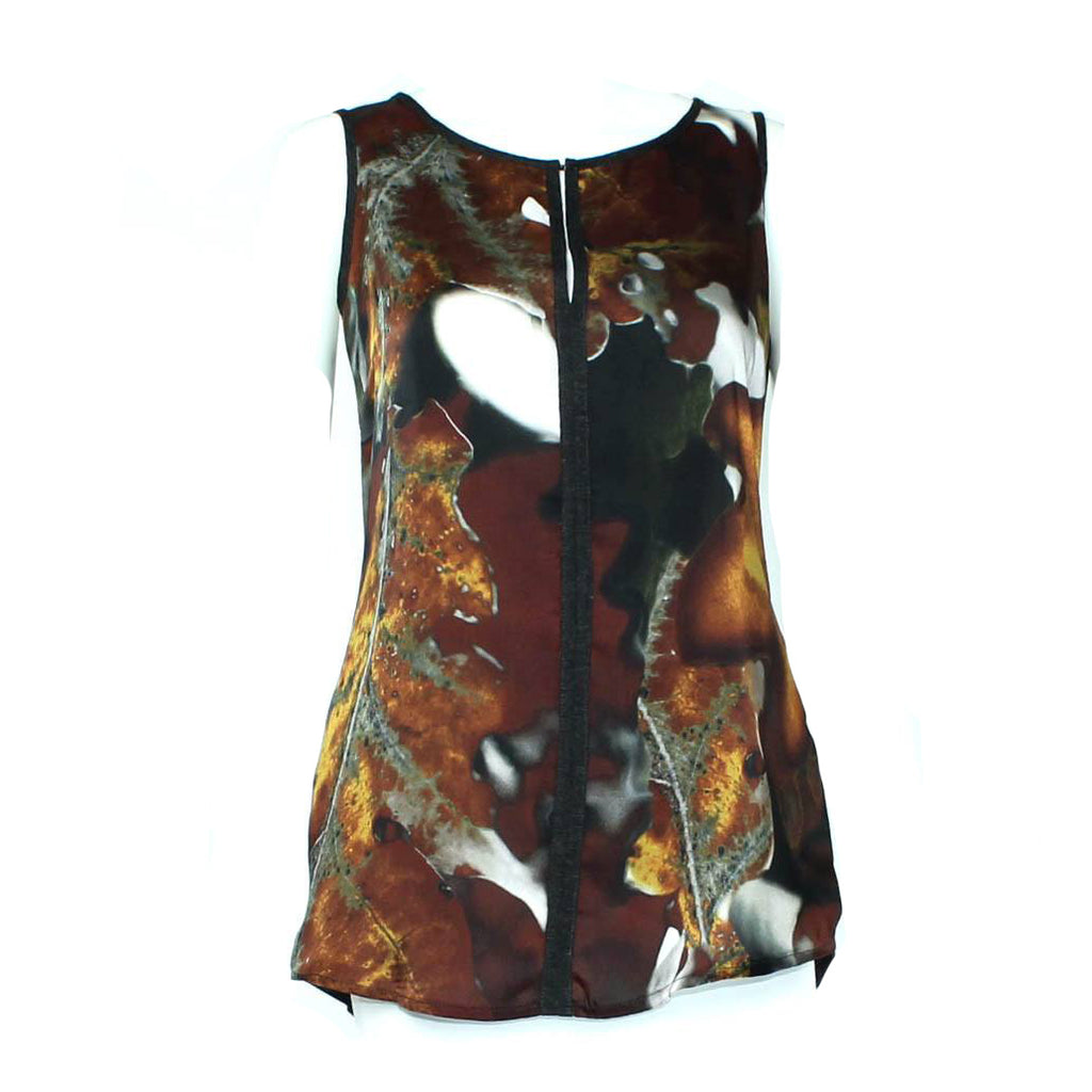 Iris Setlakwe Brown/Multi Sleeveless Printed Top Size 0 Muse Boutique Outlet | Shop Designer Clearance Tops on Sale | Up to 90% Off Designer Fashion