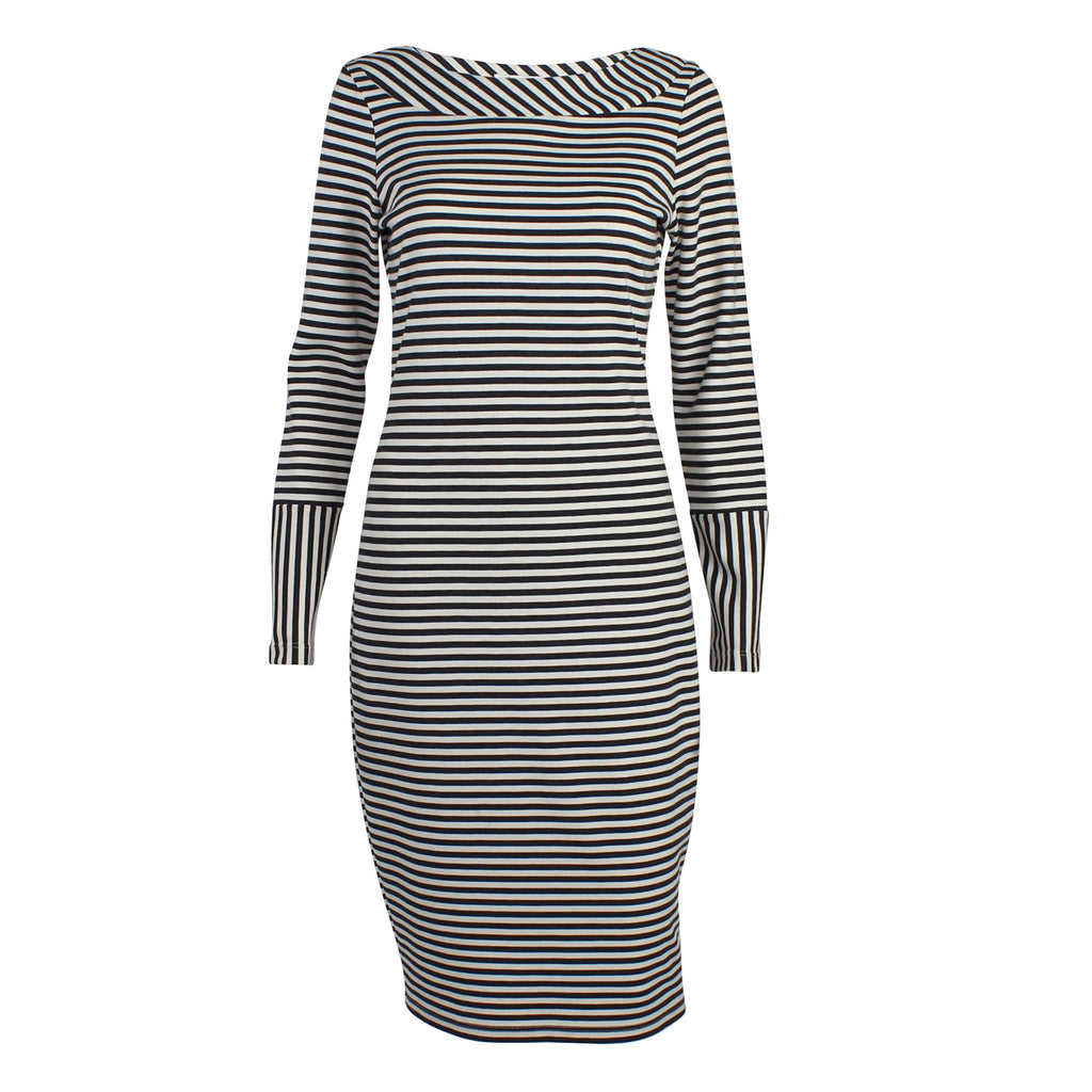 Amy Matto Black/Ivory Striped Long Sleeve Dress Size Small Muse Boutique Outlet | Shop Designer Clearance Dresses on Sale | Up to 90% Off Designer Fashion