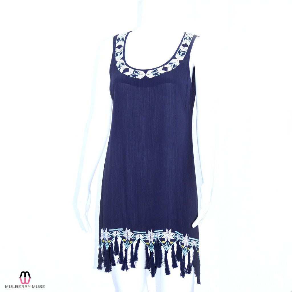 En Creme Navy Embroidered Fringe Dress Size Medium Muse Boutique Outlet | Shop Designer Clearance Dresses on Sale | Up to 90% Off Designer Fashion