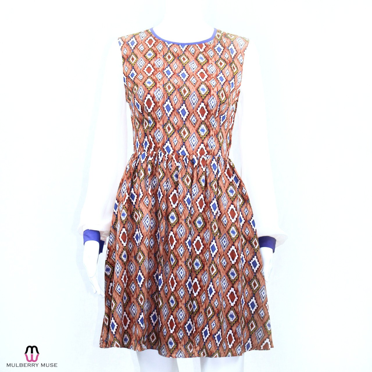 Ark & Co Chiffon Sleeve Print Dress Medium Brown Multi Muse Boutique Outlet