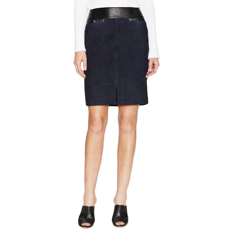 Ohne Titel Navy Suede Leather Skirt 6 Navy Muse Boutique Outlet | Up to 90% Off Designer Fashion