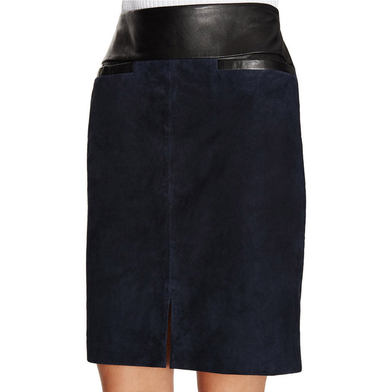 Ohne Titel Navy Suede Leather Skirt   Muse Boutique Outlet | Up to 90% Off Designer Fashion