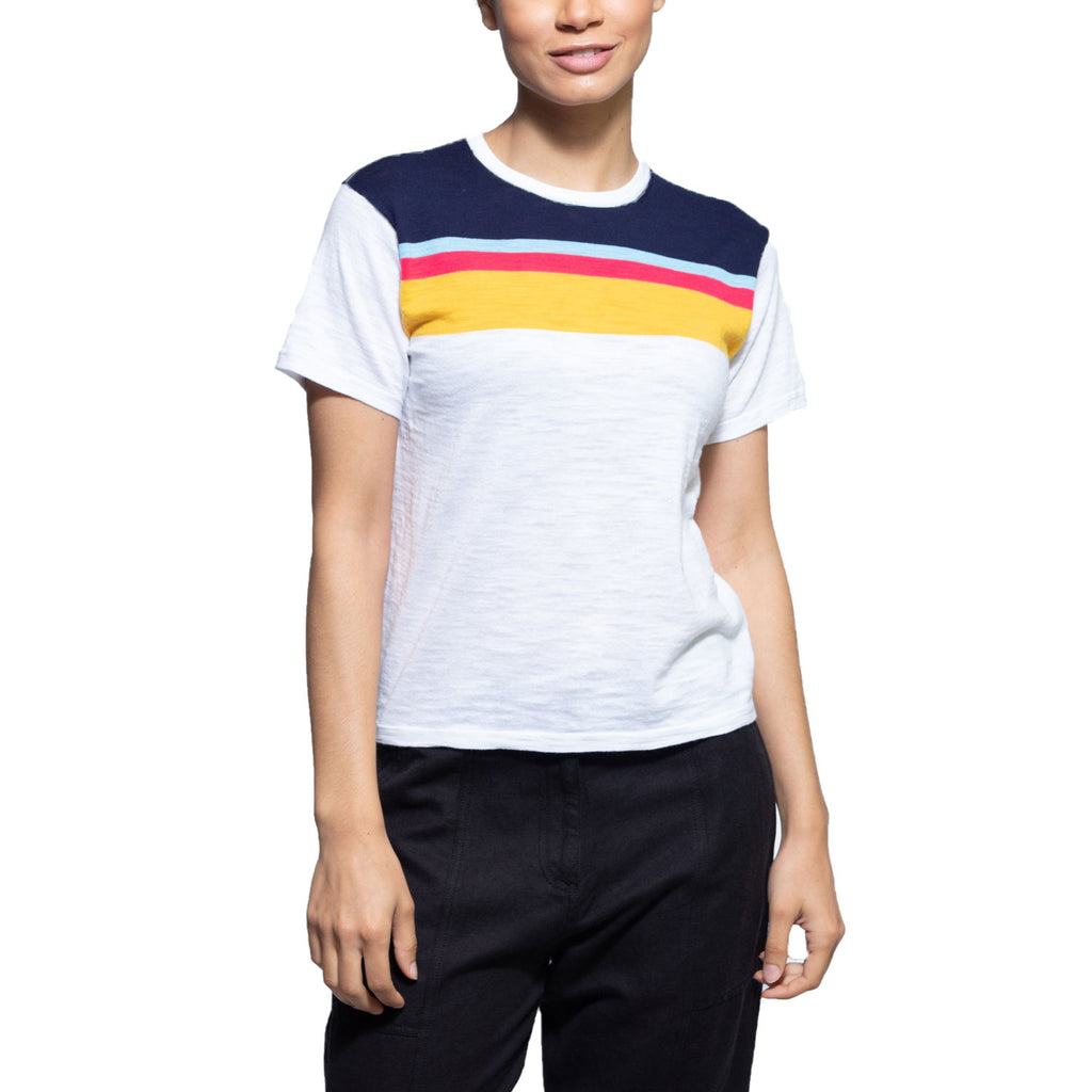 360 Cashmere White / Multicolored Alexis Short Sleeve Tee Size Extra Small Muse Boutique Outlet | Shop Designer Short Sleeve Tops on Sale | Up to 90% Off Designer Fashion