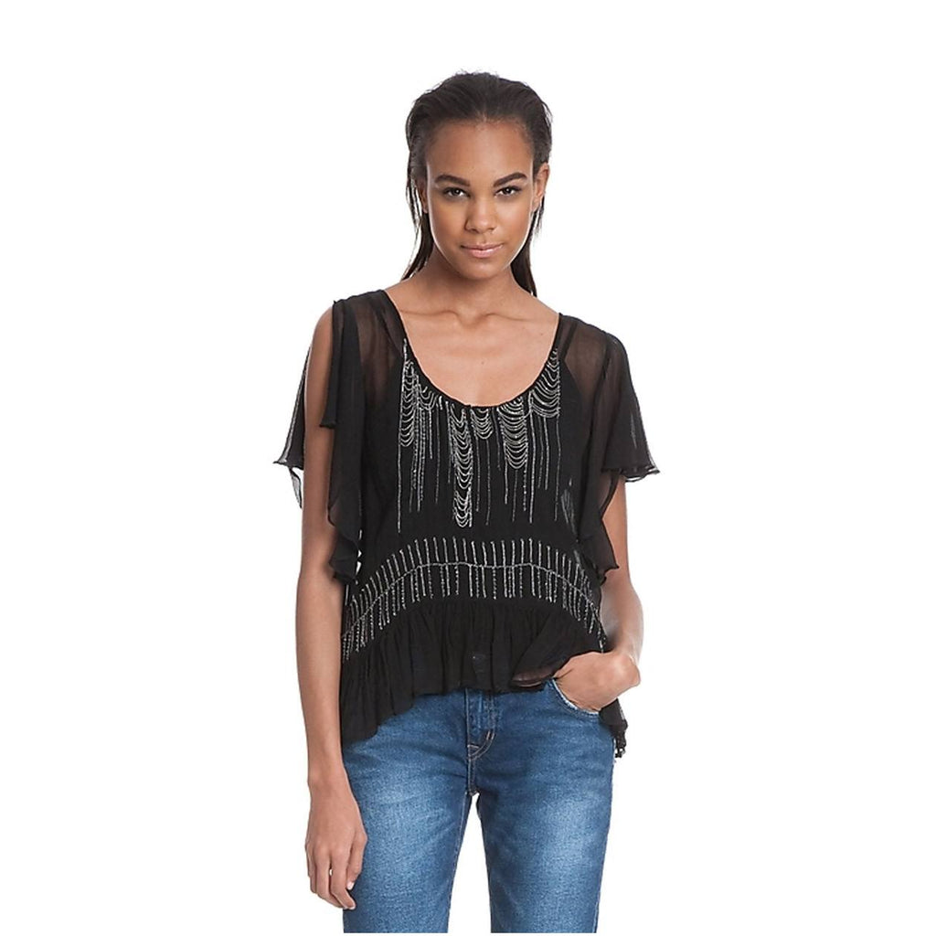 Tracy Reese Black Bohemian Beaded Blouse Size Extra Small Muse Boutique Outlet | Shop Designer Clearance Tops on Sale | Up to 90% Off Designer Fashion