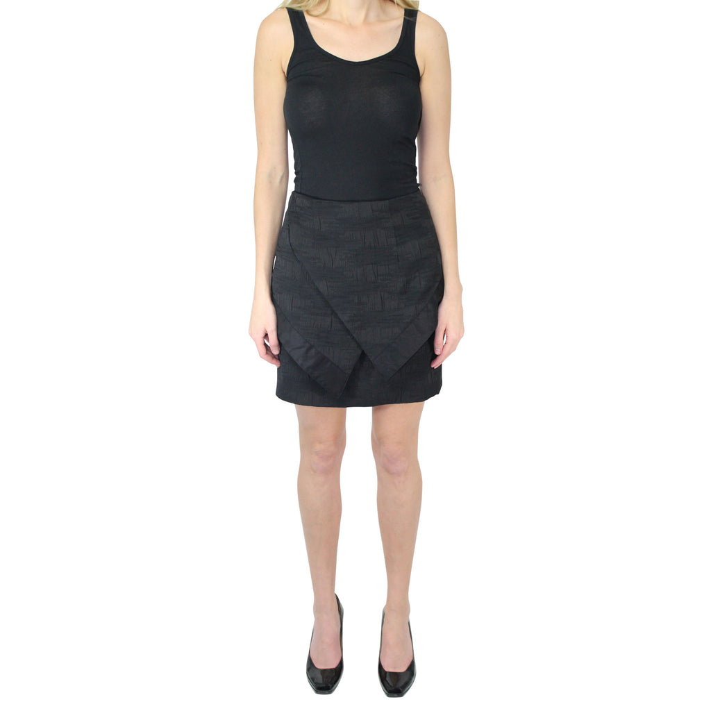 Hunter Bell Black Textured Ottoman Peplum Skirt Size 2 Muse Boutique Outlet | Shop Designer Clearance Skirts on Sale | Up to 90% Off Designer Fashion