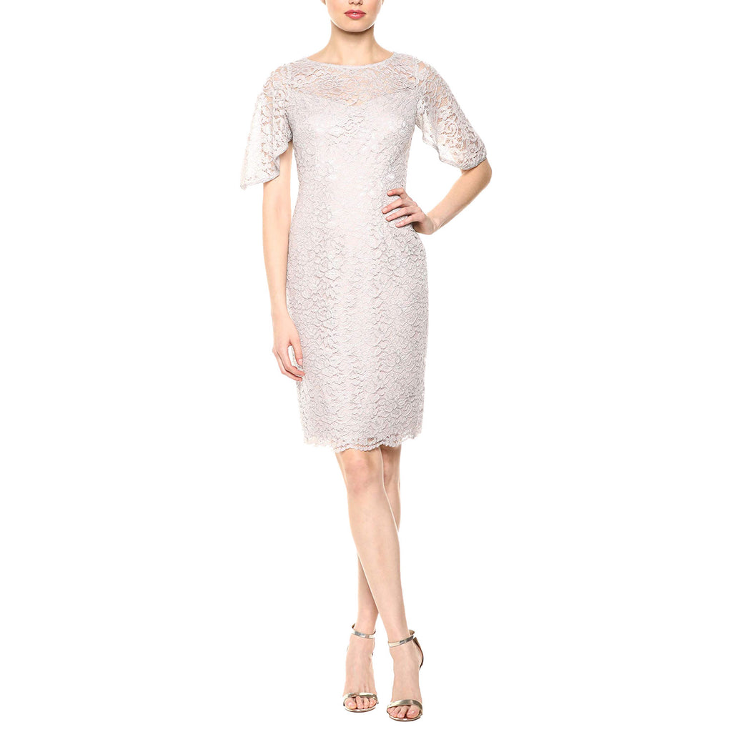 Adrianna Papell Icy Lilac Metallic Lace Sheath Dress Size 6 Muse Boutique Outlet | Shop Designer Dresses on Sale | Up to 90% Off Designer Fashion