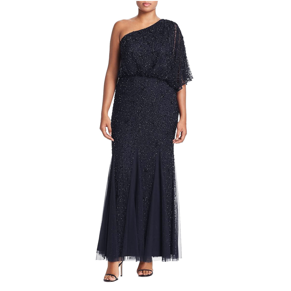 Adrianna Papell Navy One Shoulder Embellished Evening Dress Size 6 Muse Boutique Outlet | Shop Designer Evening/Cocktail on Sale | Up to 90% Off Designer Fashion