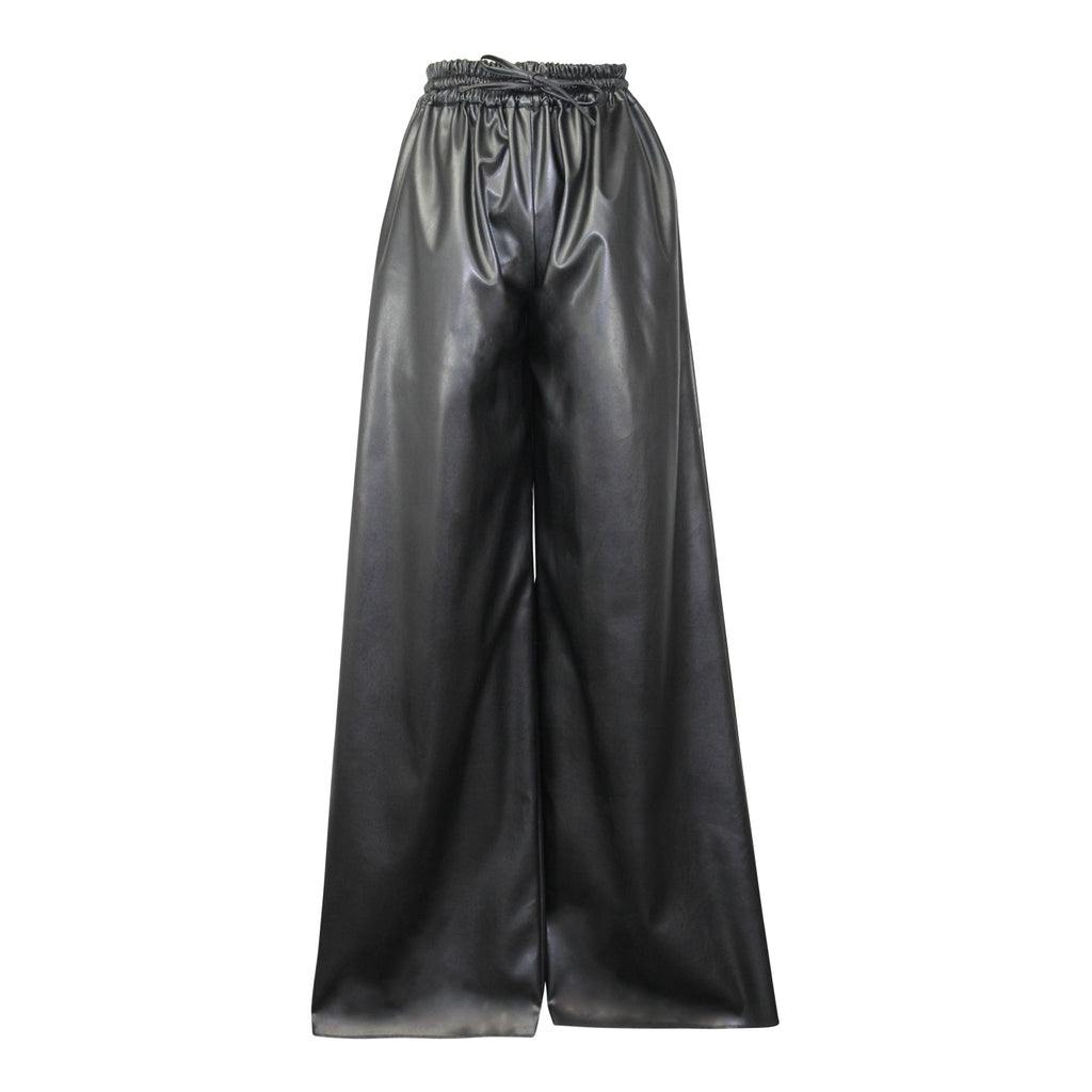 Alexandra Long Black Faux Leather Wide Leg Trouser Size 6 Muse Boutique Outlet | Shop Designer Pant on Sale | Up to 90% Off Designer Fashion